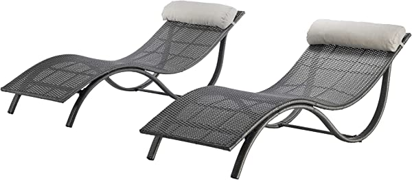 Michaelia Chaise Loungers For Patio Modern Gray Wicker With Light Gray Bolster Pillows Set Of 2
