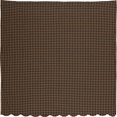 VHC Brands Black Check Scalloped Shower Curtain 72x72 Country Rustic Design, Black and Tan