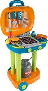 BBQ Grill Toy Set- Kids Dinner Playset with Realistic Sounds and Grate Lights- Includes Barbecue Food and Accessories, Pretend Kitchen