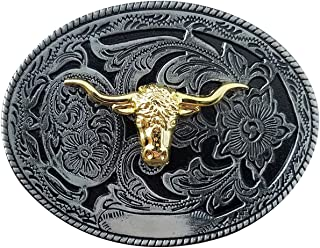 QUKE Western Cowboy Texas Golden Long Horn Bull Head Belt Buckle For Men