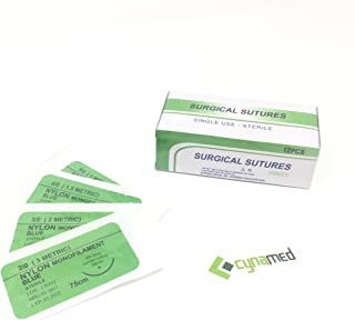 CynaMed Suture Thread with Needle (12-Pack) - Training Sutures Pkg. of 12 (12, 4/0, 30mm Blade, 3/8 Reverse Cutting)