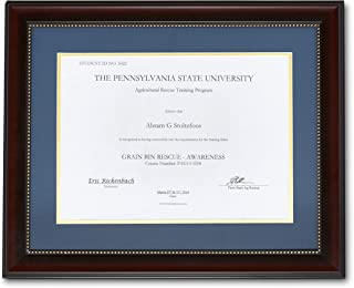 KangorooK Diploma Frame Real Authentic Wood - Rustic 11x14 Inch with Mat, 8.5x11 Without Mat, Document Frame - Graduation Certificate Holder, Picture Photo Mahogany Wood, Gold-Dotted Outline Blue Mat