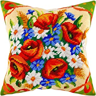 Bouquet of Wildflower. Needlepoint Kit. Throw Pillow 16�16 Inches. Printed Tapestry Canvas, European Quality