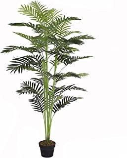 AMERIQUE Gorgeous 5.5' Tropical Areca Palm Tree Artificial Silk Plant with UV Protection, with Nursery Pot, Feel Real Technology, Super Quality, Feet, Green