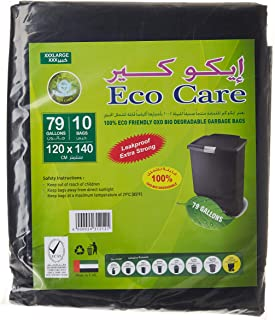 Eco Care Black Garbage Bag - 10 Count, 79 Gallons, 120x140cm