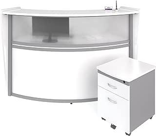 OFM Marque Series Plexi Single-Unit Curved Reception Station - Office Furniture Receptionist/Secretary Desk with White Pedestal (PKG-55310-WHITE)