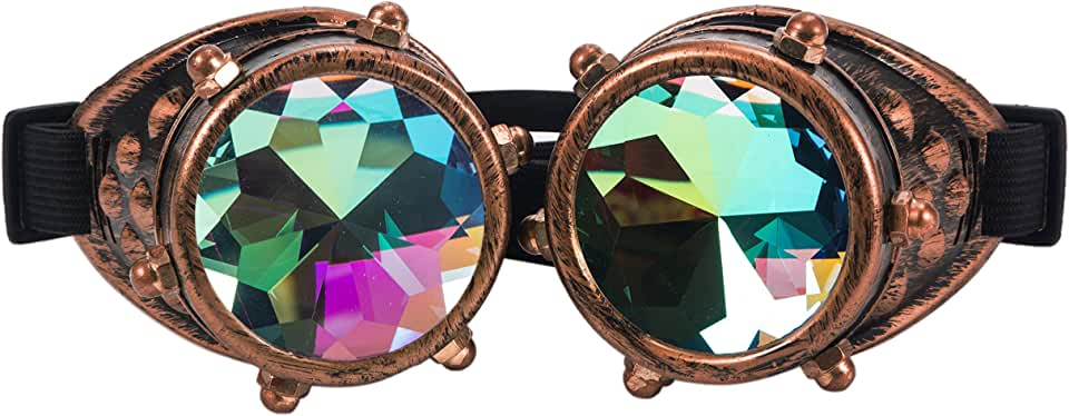 Kaleidoscope Goggles Glasses - Steampunk Rave Diffraction Glasses With Rainbow Crystal Prism
