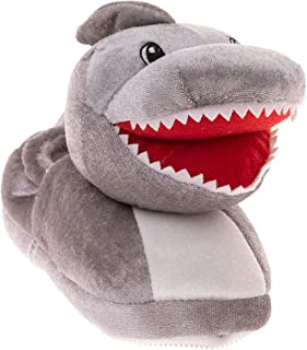 Kids Boys & Girls Grey Toothy Shark Non Skid Plush Slippers