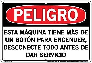 Vestil Spanish Danger Sign SI-D-35-D-AL-080-S, This Machine Has More Than One Power Supply Disconnect All Power Supplies Before Servicing, ESTA MÁQUINA TIENE MÁS DE UN BOTÓN PARA ENCENDER, DESCONECTE TODO ANTES DE DAR SERVICIO, 18.5X12.5 ALUMINUM .080