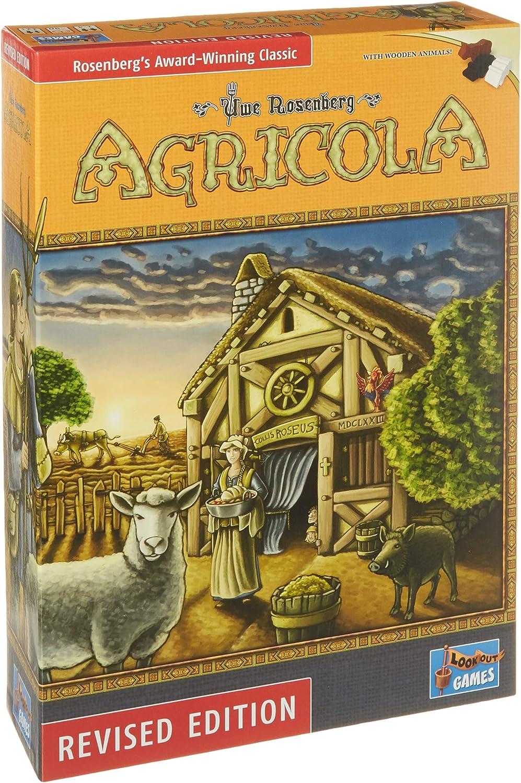"Agricola Game Revised Edition""    Bonus 3 gold Metallic Cloth Drawstring Storage Pouches    Bundled Items"