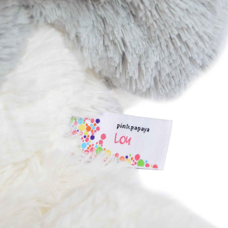 Pink Papaya Riesen Kuschel-Hund Lucy, 100cm XXL Plüsch-Hund in Hellbraun, Stoff-Hund, Teddybär zum Liebhaben Toys Kuschelhund Weiß/Grau - Lou - 100cm