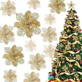 12 Flores de Brillo Navideño, Flores Artificiales de Árbol de Navidad, con 12 Clips, Adornos de Brillo Navideño, de Boda y...