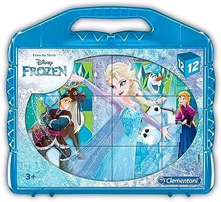 Clementoni 41186 Clementoni-41186-Cube Puzzle-Frozen-12 Cubes-Disney, Multi-Colour