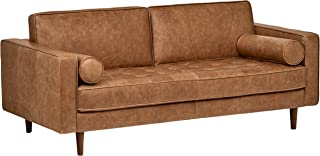 Rivet Aiden Tufted Mid-Century Modern Leather Bench Loveseat Couch Sofa, 74