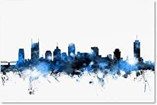 Nashville Tennessee Skyline White by Michael Tompsett, 30x47-Inch Canvas Wall Art