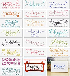 20 Pcs Welcome Stencil for Painting on Wood, Inspirational Quote Template Grateful Believe Faith Live Laugh Home Sign Reus...