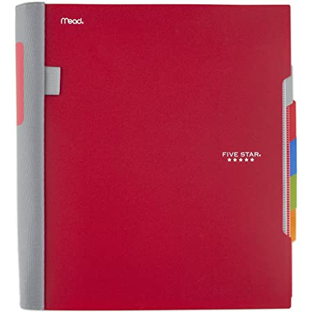 Five Star Advance Spiral Notebook, 5 Subject, College Ruled Paper, 200 Sheets, 11 x 8-1/2 inches, Red (73146)