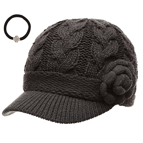 41d82ef94f2 J-Fashion Women s Cable Knitted Double Layer Visor Beanie Hats with Hair Tie