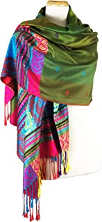Paskmlna Double Side Rainbow Silky Tropical Colorful Exotic Pashmina Wrap Shawl Scarf