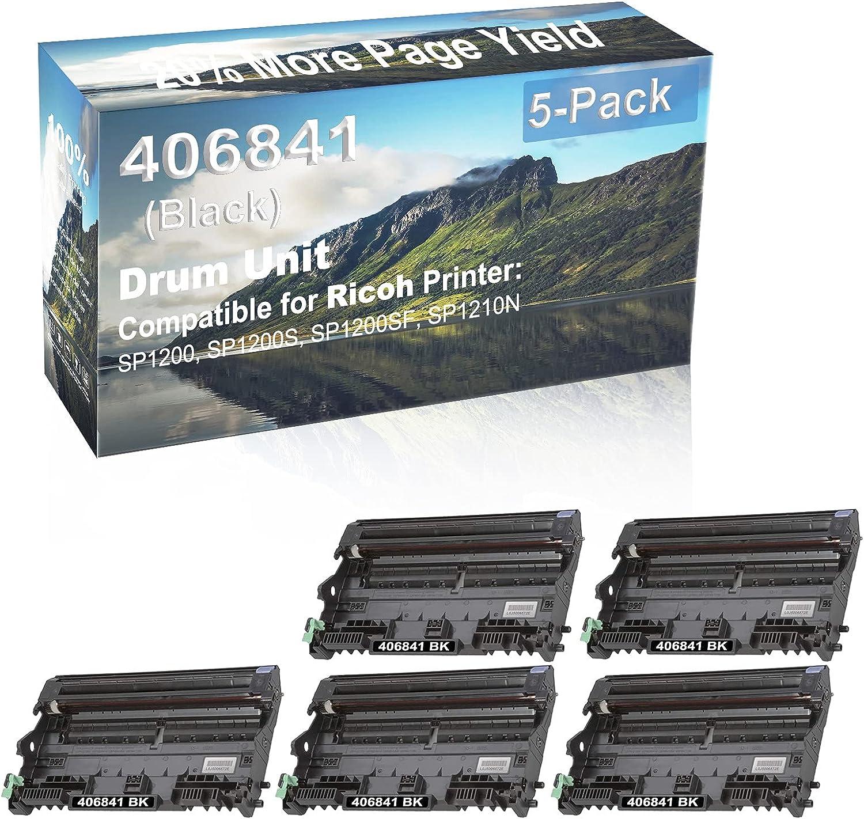 5-Pack (Black) Compatible SP1200, SP1200S, SP1200SF, SP1210N Printer Drum Unit Replacement for Ricoh 406841 Drum Kit