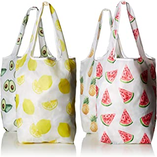 Carrie Bags Reusable Shopping Bags, Set of 4 Printed Designs, Foldable Grocery Tote Bag with Attached Storage Pocket