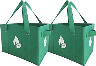 Reusable Grocery Shopping Box Bag Deluxe Set Large Foldable Collapsible Box Tote with Extra Long Handles Reinforced Bottom and Sides in Eco Green Color (Set of 2)