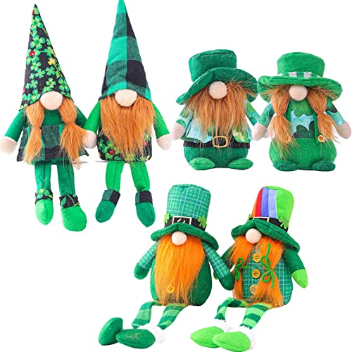 2021 Gnomes Plush Decor St.Patrick's Day popular Gnome Ornaments Irish Gnomes Decoration Tomte Handmade 2021 Gnome Plush Ornaments for Irish Saint Paddy's Day Gift Home Decor Tabletop Santa Figurines Set of 6 outlet online sale