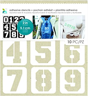 Momenta Varsity Font Adhesive Fabric Stencil Numbers, White