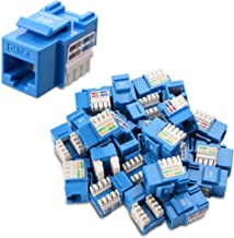 [UL Listed] Cable Matters 25-Pack Cat6 RJ45 Keystone Jack (Cat 6 / Cat6 Keystone Jack) in Blue with Keystone Punch-Down Stand