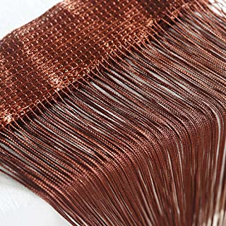 Door String Curtain, Wall Panel Fringe Window Room Divider Blind, Home Patio Bedroom Decorative Tassel Screen Ribbon Strings Strip Silver Thread Screen for Wedding Coffee House Home (Coffee)