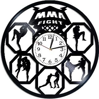 Kovides MMA Fight Room Art Lp Vinyl Retro Record Wall Clock Exclusive Sport Gift Birthday Gift for Man Mixed Martial Arts Clock Xmas Gift Idea for Fan Sport Art