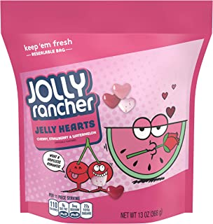 Jolly Rancher (1) Bag Jelly Hearts Valentine's Day Candy - Cherry, Strawberry & Watermelon Flavored - Resealable 13 oz Bag