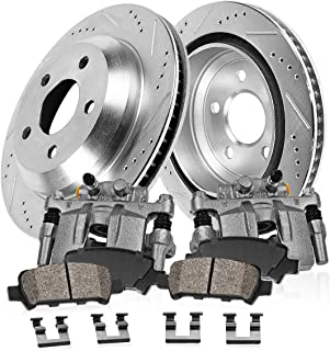 CCK11539 REAR OE [2] Calipers + [2] 5 Lug Drilled/Slotted Rotors + Quiet Low Dust [4] Ceramic Pads Kit [ SN95 ]