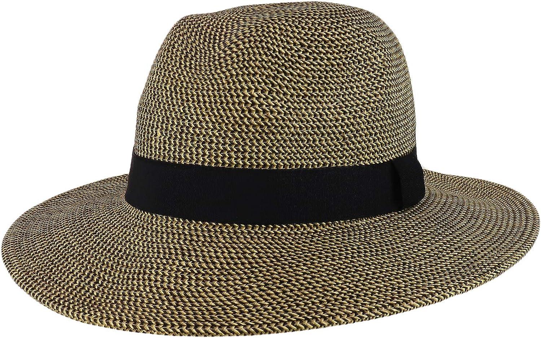 Trendy Apparel Shop UPF 50+ Paper Braid Tweed Large Flat Brim Fedora Hat