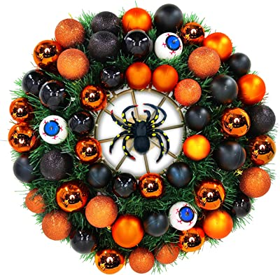 "TURNMEON 24"" Halloween Fall Wreath for Front Door with Spider Eyeballs Ornaments Halloween Decoration Indoor Outdoor Home Party Decor"