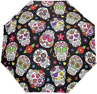 Wamika Day of The Dead Sugar Skull Auto Umbrella Open Close Windproof Travel Flower Umbrella Lightweight Compact Parasol Umbrellas Sun & Rain