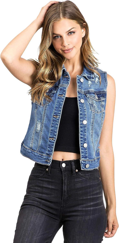 Wax Jeans Women's Classic Cropped Denim Vest