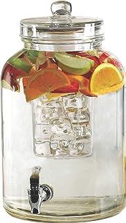 Circleware 92023 Brington Glass Beverage Dispenser Insert and Fruit Infuser Kitchen Entertainment Glassware Pitcher for Water, Juice, Wine, Ice Tea, Kombucha & Cold Drinks, 2.6 Gallon
