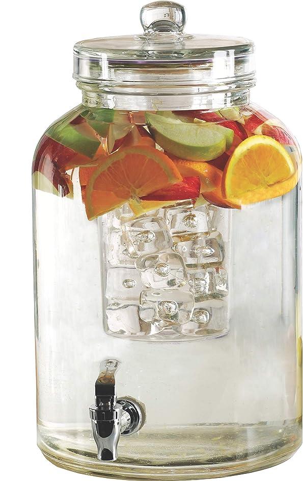 Circleware 92023 Brington Glass Beverage Dispenser Insert and Fruit Infuser Kitchen Entertainment Glassware Pitcher for Water, Juice, Wine, Ice Tea, Kombucha & Cold Drinks, 2.6 Gallon,