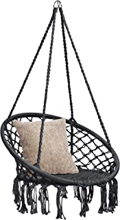 Best Choice Products Indoor Outdoor Hanging Cotton Macramé Rope Hammock Lounge Swing Accent Chair w/Fringe Tassels, Black