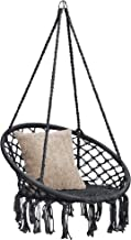 Best Choice Products Handwoven Cotton Macrame Hammock Hanging Chair Swing for Indoor & Outdoor Use w/Backrest - Black