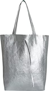 SKUTARI® LEDER VITTORIA Brillante   Damen Shopper   glänzende Handtasche   Schultertasche   eingenähter Innentasche   Lede...