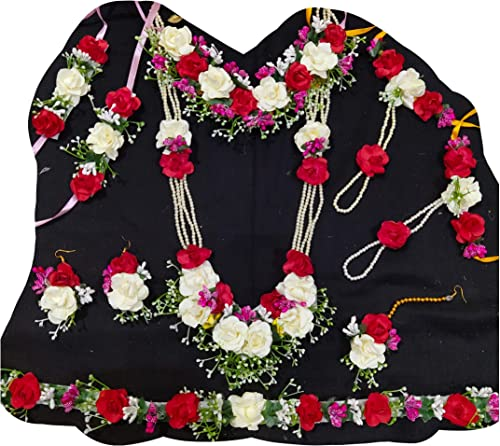 USHA BENTEX red white red Artificial flower jewellery for baby shower and haladi