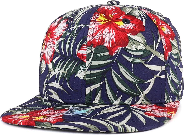 Trendy Apparel Shop Tropical Floral Print Cotton Flat Bill Snapback Cap