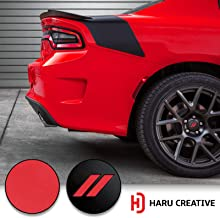 Haru Creative - Stripe Hash Rhombus Wheel Center Cap Overlay Vinyl Decal Sticker Compatible with and Fits Dodge Charger and Challenger 2017 2018 (no Wheel caps Included) - Matte Red