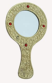 Oxidized Golden Metal Round Vanity Pocket or Hand Mirror Handicraft for Home Decor Gift Item