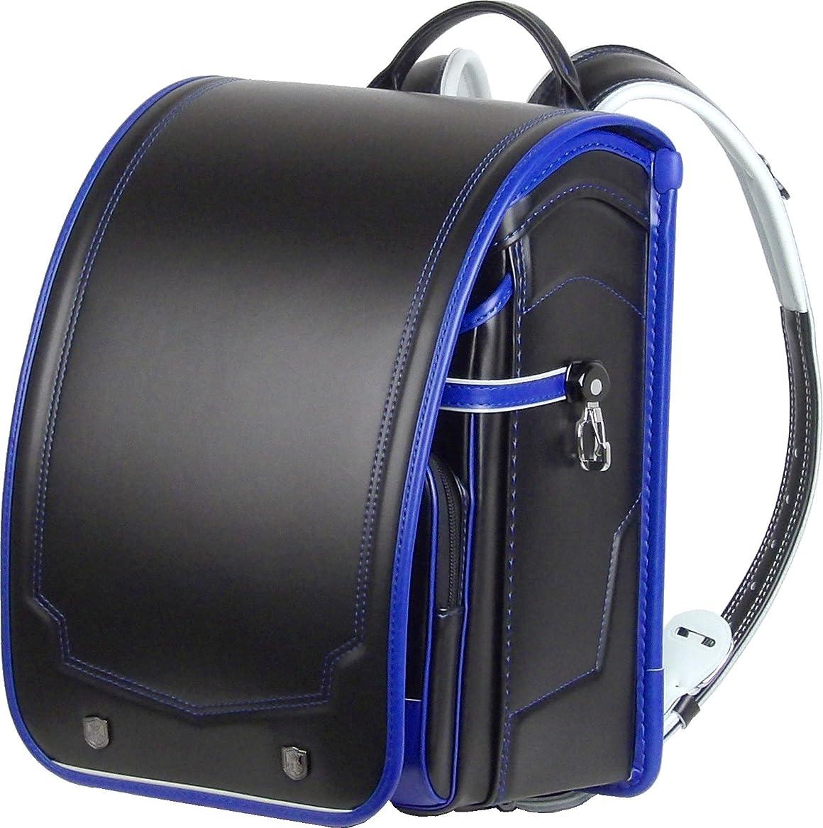 ずらす好奇心盛膨らみ日本製 ふわりぃ コンビカラー ランドセル ? 黒 (ブラック) ×ロイヤルブルー(フチ)? カブセ表に強力耐傷素材レミニカ使用 外せる持ち手ハンドル付 A4ポケットファイル 収納サイズ