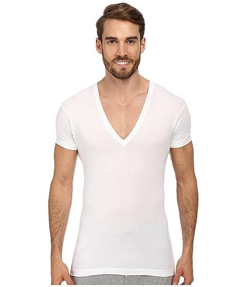 IST Slim con en cuello 2 camiseta v X Fit blanco Pima profundo pTYtY5wq