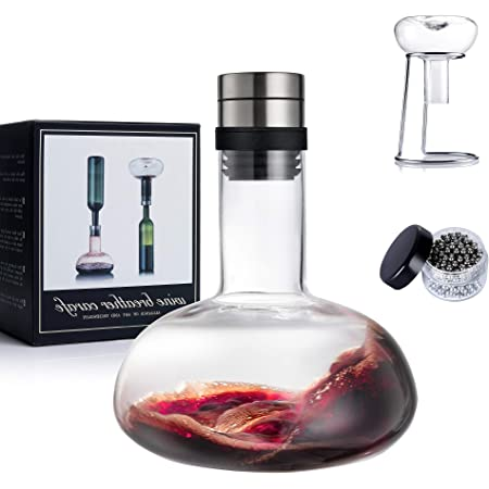 YouYah Wine Decanter Set,Wine Breather Carafe with Drying Stand,Cleaning Beads and Aerator Lid,Crystal Glass,Wine Gift,Wine Aerator,Wine Accessories