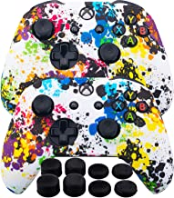 MXRC Silicone Rubber Cover Skin Case Anti-slip Water Transfer Customize Camouflage for Xbox One/S/X Controller x 2(Graffiti x 2) + FPS PRO Extra Height Thumb Grips x 8